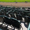 Empty chairs and stands as horses return after a race. Scenes at Churchill Downs, Louisville, KY on September 5, 2020.