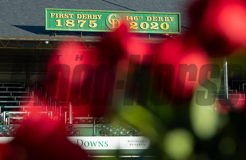 Empty stands with roses in foreground and 2020 Derby sign. Scenes at Churchill Downs, Louisville, KY on September 5, 2020.
