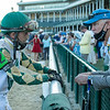 Luca Panici talks with Dean Reeves after the Kentucky Derby (G1) at Churchill Downs, Louisville, KY on September 5, 2020.