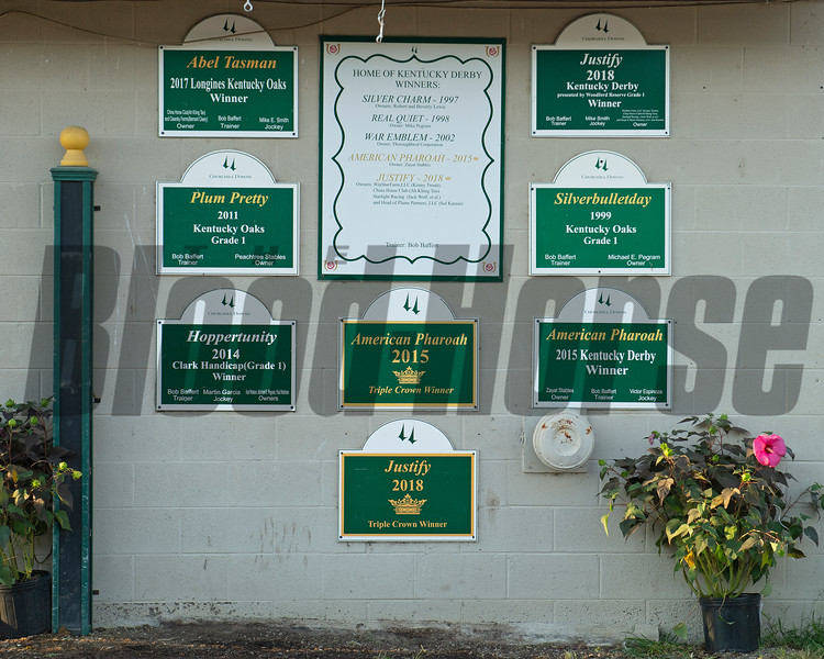 Wall outside the Bob Baffert barn the morning after Authentic wins the Kentucky Derby (G1) at Churchill Downs, Louisville, KY on September 5, 2020. Photo: Anne M. Eberhardt
