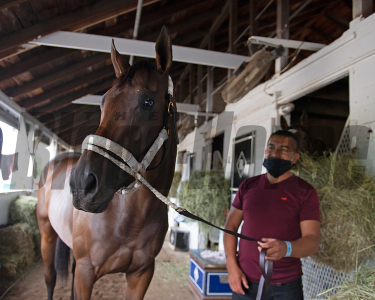 Hopeful Growth and with her groom Ronald Alvarez at Churchill Downs, Louisville, KY on September 3, 2020.