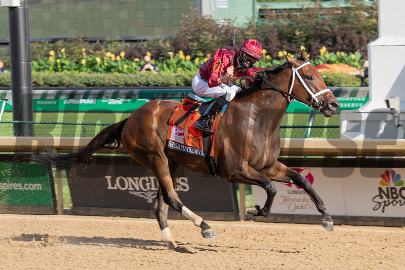 Shedaresthedevil with Florent Geroux wins the Kentucky Oaks (G1) at Churchill Downs, Louisville, KY on September 4, 2020. Photo: Anne M. Eberhardt