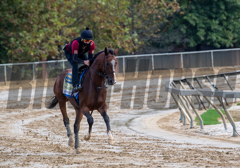 Authentic gallops through the mud at the Pimlico Race Course Friday Oct 2, 2020 in preparation for Saturday's 145th Preakness Stakes.in Baltimore, MD.  Photo by Skip Dickstein