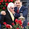 Trainer Bob Baffert (L) and Owner Amr Zedan (R), celebrate with the trophy after Medina Spirit ridden by jockey John R. Velazquez won the 147th Kentucky Derby (G1) at Churchill Downs, Saturday, May 1, 2021 in Louisville, KY.  Photo by Skip Dickstein