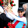 Jockey John R. Velazquez rider of Medina Spirit celebrates with the trophy after winning the 1417th Kentucky Derby (G1) at Churchill Downs, Saturday, May 1, 2021 in Louisville, KY.  Photo by Skip Dickstein