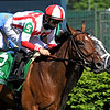 Domestic Spending #5 ridden by jockey Flavien Prat and Colonel Liam #3 ridden by jockey Irad Ortiz Jr. battled to a Dead Heat finish in the Old Forester Bourbon Turf Classic Stakes (G1T) at Churchill Downs, Saturday, May 1, 2021, in Louisville, KY.  Photo by Skip Dickstein