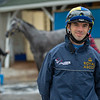 Jockey Florent Geroux with Travel Column in background<br /> Kentucky Derby and Oaks horses, people and scenes at Churchill Downs in Louisville, Ky., on April 24, 2021.