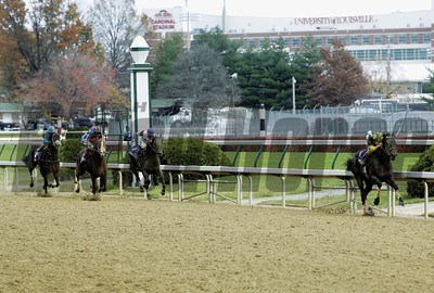 Caption: JUVENILE Street Sense, Calvin Borel looks back for the competition Breeders' Cup day on November 4, 2006, at Churchill Downs in Louisville, Ky. Origs2 image12 Photo by Anne M. Eberhardt