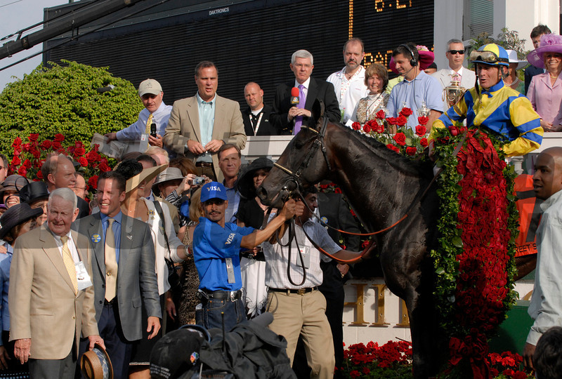 CAPTION:  STreet Sense winners circle, James and Jim Tafel on left<br /> Derby day  at Churchill Downs on May 5, 2007, in Louisville, Ky.<br /> Race10 image5960<br /> Photo by Anne M. Eberhardt