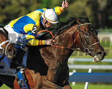 Street Sense with Calvin Borel beating Any Given Saturday to win in the Tampa  Bay Derby at Tampa Bay Downs 3.17.2007 Photo by: Pam DiOrio