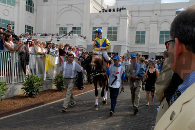 CAPTION:  Street Sense with Calvin Borel in the paddock Derby day  at Churchill Downs on May 5, 2007, in Louisville, Ky. Race8 image3471 Photo by Anne M. Eberhardt