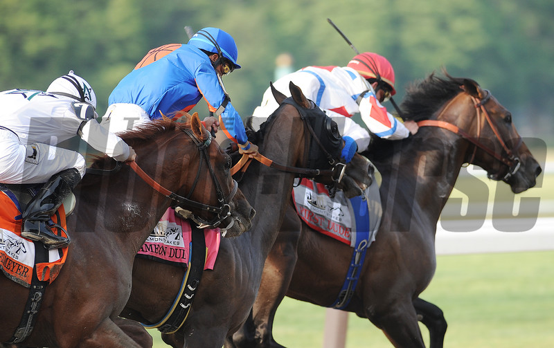 Drosselmeyer (far outside), Mike Smith up, makes his move at the top of the stretch and wins the 2010 Belmont Stakes, Belmont Race Track, Elmont, NY, 6/5/10, Mathea Kelley