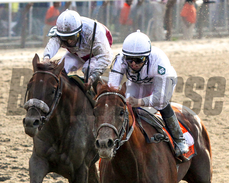 Mike Smith aboard Drosselmeyer and John Velazquez aboard Fly Down give it their all during the 142nd Running of the Belmont Stakes at Belmont Park on June 5, 2010.<br /> Photo by: Chad Harmon
