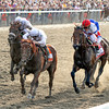 Drosselmeyer w/Mike Smith up (Center) win the 142nd Running of the Belmont Stakes at Belmont Park on June 5, 2010 in front of Fly Down w/John Velazquez up (left) and First Dude w/Ramon Dominguez up (right).<br /> Photo by: Chad Harmon