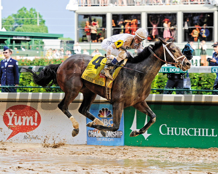 Super Saver with Calvin Borel wins the Kentucky Derby (gr. I)<br /> Derby day at Churchill Downs near Louisville, Ky. on May 1, 2010.<br /> Photo by Anne M. Eberhardt