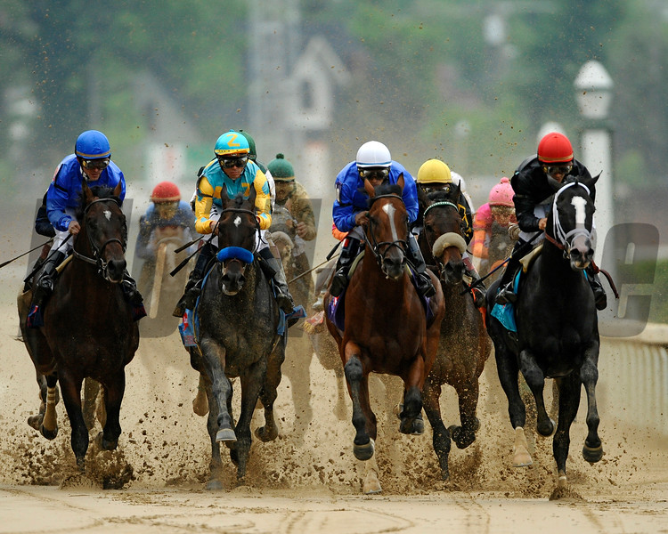 Calvin Borel Wins the 2009 Kentucky Derby on board Mine That Bird<br /> Join in the Dance on the early lead<br /> Mike Corrado Photo
