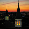 Twin Spires at Churchill Downs at Sunrise.<br /> Photo by Anne M. Eberhardt
