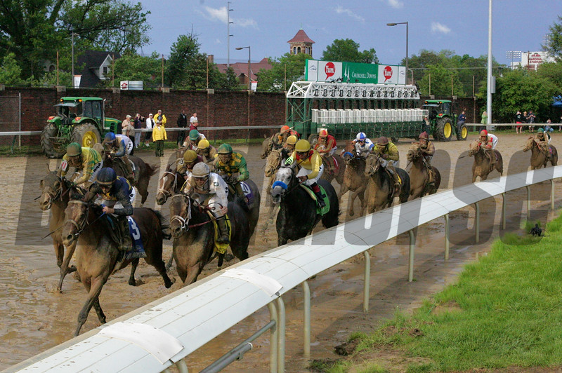 The field, led by Calvin Borel on Super Saver, ran down the stretch of the 136th running of the Kentucky Derby (G. I) at Churchill Downs in Louisville, KY on May 1, 2010. Super Saver and Borel won the race. Photo by Crawford Ifland.