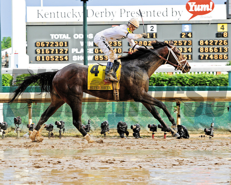 Caption: Super Saver with Calvin Borel wins the Kentucky Derby (gr. I)<br /> Derby day at Churchill Downs near Louisville, Ky. on May 1, 2010.<br /> Photo by Anne M. Eberhardt