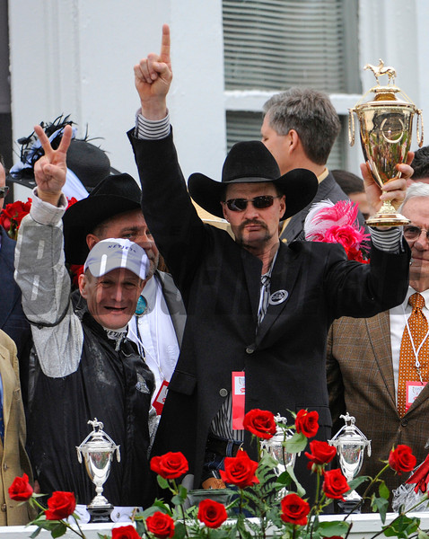 Calvin Borel on Mind That Bird wins the 1354th Kentucky Derby at Churchill downs in Louisville, Kentucky May 2, 2009.  Borel and trainer Bennie Wooley.<br /> Photo by: Skip Dickstein