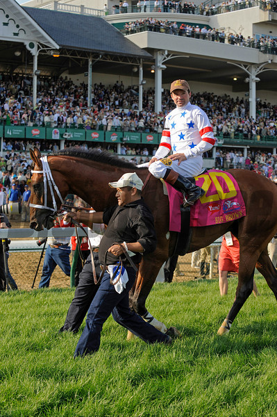 Big Brown with Desormeaux heads to the winners circle.<br /> Kentucky Derby, undercard stakes, and scenes atChurchill Downs in Louisville, Ky. on May 3, 2008.<br /> Photo by Anne M. Eberhardt