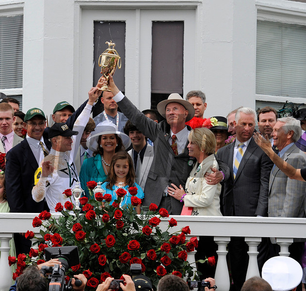 PRES, l-r, Kenny Troutt, Calvin Borel, Mrs. Troutt and daughter, Bill and Susan Casner, Todd Pletcher, Gov. Steve Beshear<br /> Super Saver with Calvin Borel wins the Kentucky Derby (gr. I)<br /> Derby day at Churchill Downs near Louisville, Ky. on May 1, 2010.<br /> Photo by Anne M. Eberhardt