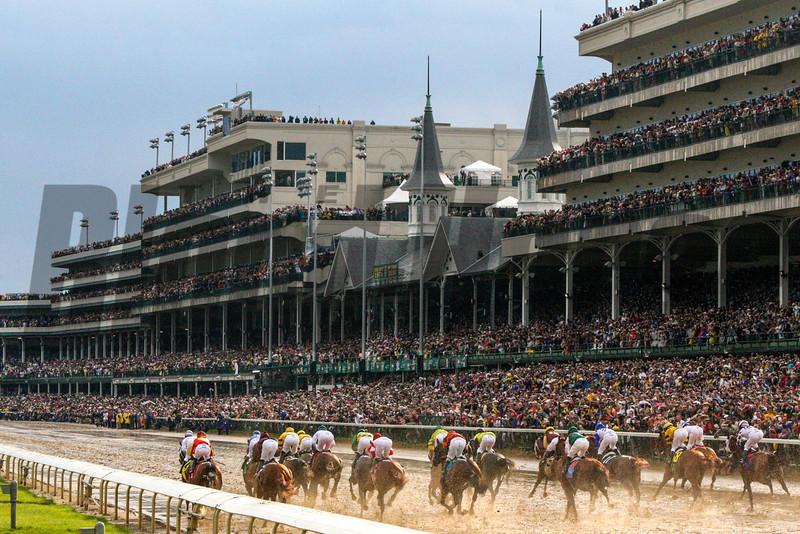 The field, led by Calvin Borel on Super Saver, ran down the stretch of the 136th running of the Kentucky Derby (G. I) at Churchill Downs in Louisville, KY on May 1, 2010. Super Saver and Borel won the race. <br /> Photo by Crawford Ifland.