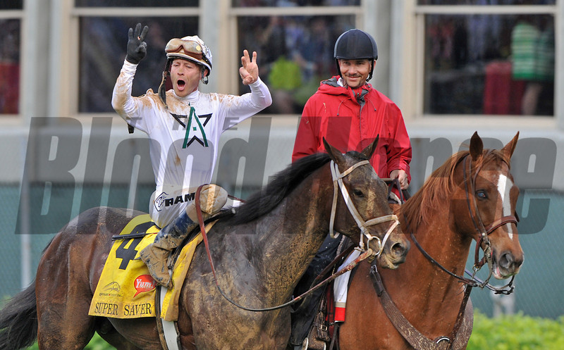 Super Saver with Calvin Borel wins the Kentucky Derby (gr. I)<br /> Derby day at Churchill Downs near Louisville, Ky. on May 1, 2010.<br /> Photo by: Courtney Bearse