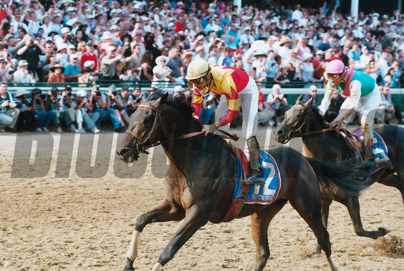 Fusaichi Pegasus in the 2000 Kentucky Derby at Churchill Downs, photo by Anne M. Eberhardt