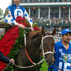 CAPTION:  Smarty Jones with Stewart Elliott up wins the Kentucky Derby. Breeder/Owner Patricia Chapman of Someday Farm and her husband Roy, trainer John Servis and wife Sherry and son Tyler.<br /> Kentucky Derby contenders at Churchill on May 1, 2004.<br /> DerbyDayOrigs12<br /> image107<br /> Photo by Anne M. Eberhardt
