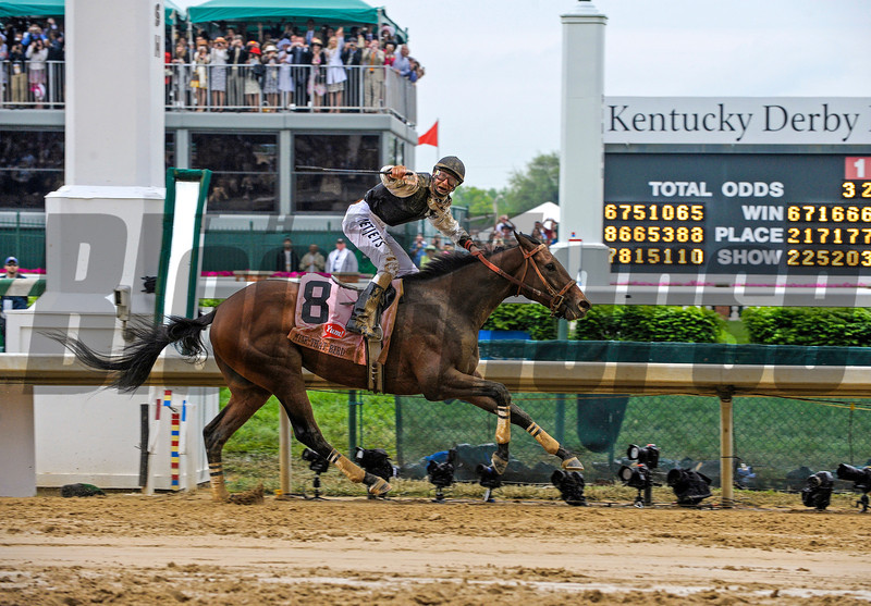 Mine That Bird with Calvin Borel wins the Kentucky Derby (gr. I) on<br /> Kentucky Derby day at Churchill Downs near Louisville, Ky. on May 2, 2009.<br /> Photo by Anne M. Eberhardt