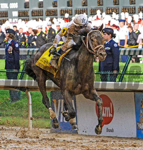 Jockey Calvin Borel wins his third Kentucky Derby in the last four years on Super Saver at Churchill Downs in Louisville, Kentucky May 1, 2010.  <br /> Photo by: Skip Dickstein