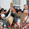 Calvin Borel on Mind That Bird wins the 1354th Kentucky Derby at Churchill downs in Louisville, Kentucky May 2, 2009.  L to r in the winner's circle;  Calvin Borel, Bennie Wooley, Mark Allen and Leonard Blach.<br /> Photo by: Skip Dickstein