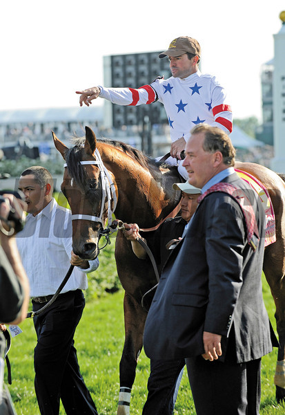 Big Brown with Kent Desormeaux and trainer Dick Dutrow goes to the winners circle.<br /> Kentucky Derby, undercard stakes, and scenes atChurchill Downs in Louisville, Ky. on May 3, 2008.<br /> Photo by Anne M. Eberhardt