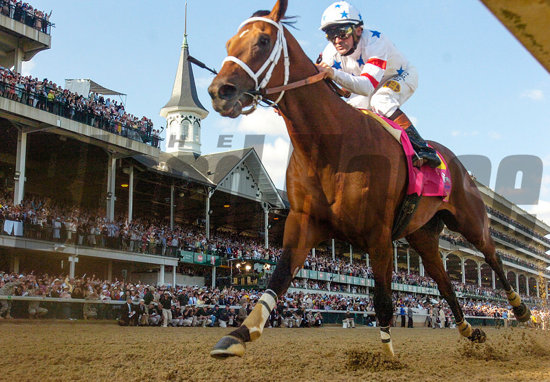 Kent Desormeaux sits atop Big Brown and wins the 134th running of The Kentucky Derby at Churchill Downs in Louisville, Kentucky May 3, 2008.<br /> Photo by Skip Dickstein