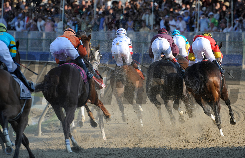 PHOTO BY SKIP DICKSTEIN - First Time by in Big Brown's  win in the 133rd running of the Preakness Stakes at Pimlico Race Course in Baltimore, Maryland May 17, 2008.