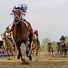 PHOTO BY SKIP DICKSTEIN -  Jockey Kent Desormeaux turns around to look for his competition as he guides  Big Brown in  demolishing a field of 12 competitors to win the 133rd running of the Preakness Stakes at Pimlico Race Course in Baltimore, Maryland May 17, 2008.