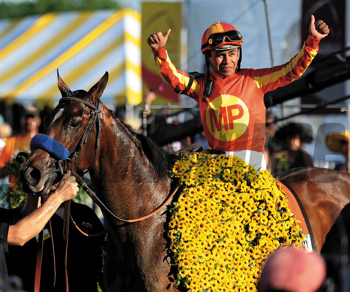 Lookin At Lucky with jockey Martin Garcia in the irons wins the 135th running of the Preakness Stakes at Pimlico Race course in Baltimore, Maryland May 15, 2010.<br /> Photo by: Skip Dickstein