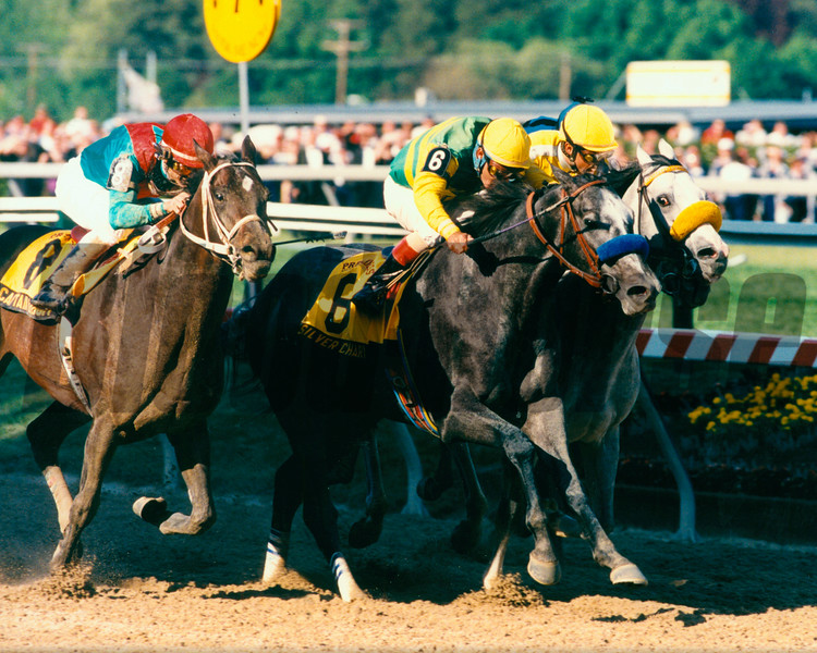 SIlver Charm wins the 1997 Preakness Stakes at Pimlico<br /> Photo by: Skip Dickstein