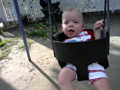 Linus's first swing!