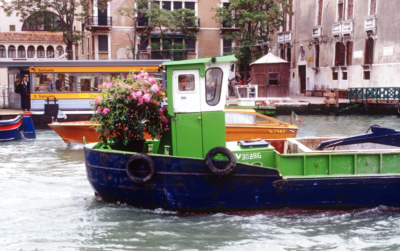 Big barge with a flowering shrub