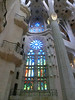 La Sagrada Familia:  Stained glass and upper balconies