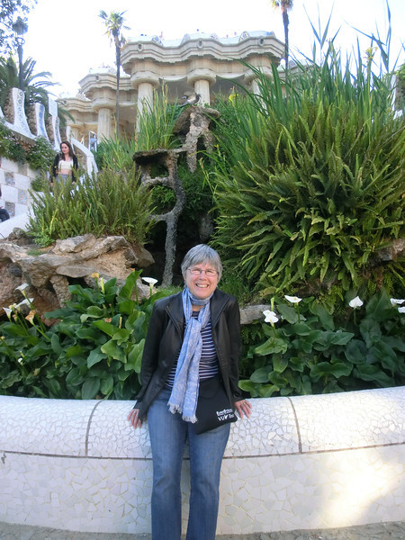 Linda at the foot of the Monumental Stairs, Park Guell