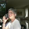 Linda enjoying her first taste of Israeli wine