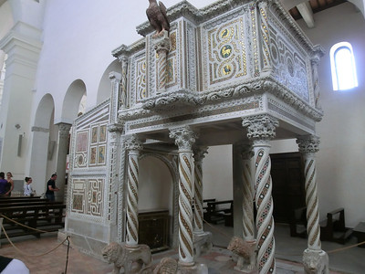 "Ravello:  Duomo, interior, with 13th C ""Pulpit of the Gospels"" by Nicolo di Bartolomeo"