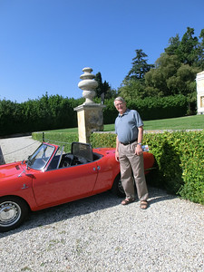 Ted's new ride seems a little small (vintage Fiat exhibit at Villa Barbaro)