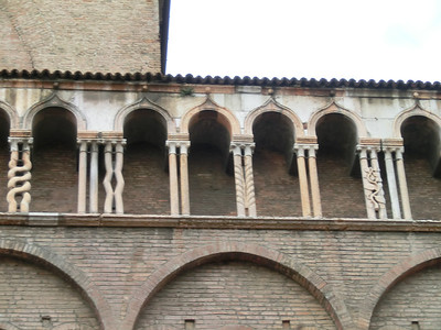 Cathedral exterior:  asymmetric columns