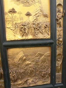 Baptistery, replica of Gates of Paradise by Ghiberti -- Moses (above) and David (below)