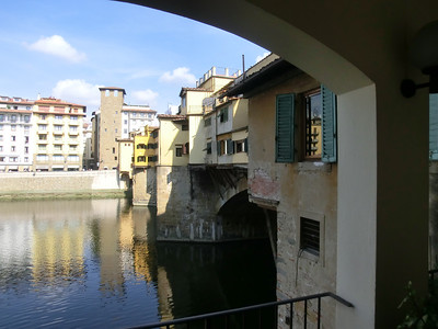 Ponte Vecchio, from balcony of small jewelry store fronting the river