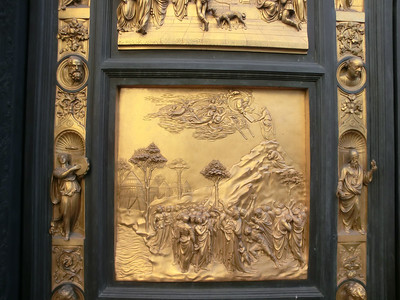 Baptistery, replica of Gates of Paradise by Ghiberti -- Moses